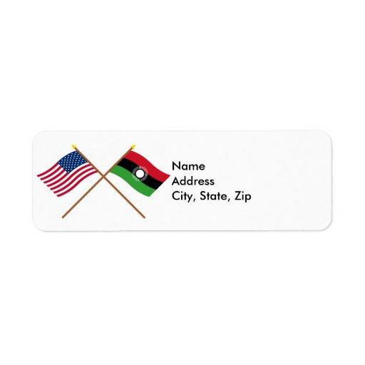 Los E.E.U.U. y banderas cruzadas Malawi Etiqueta De Remite