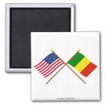 Los E.E.U.U. y banderas cruzadas Malí Iman De Nevera