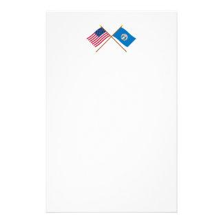 Los E.E.U.U. y banderas cruzadas Mariana Papeleria De Diseño