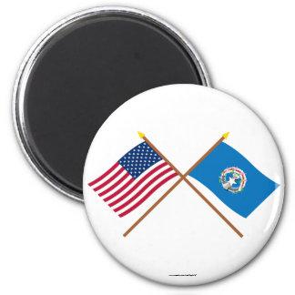 Los E.E.U.U. y banderas cruzadas Mariana septentri Imán