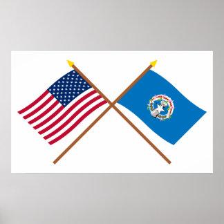 Los E.E.U.U. y banderas cruzadas Mariana septentri Impresiones