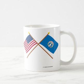 Los E.E.U.U. y banderas cruzadas Mariana septentri Tazas De Café