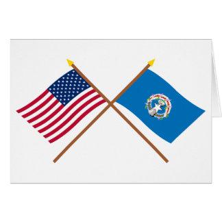 Los E.E.U.U. y banderas cruzadas Mariana Tarjeta De Felicitación