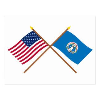 Los E.E.U.U. y banderas cruzadas Mariana Postal