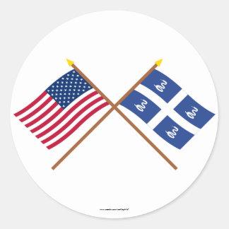 Los E.E.U.U. y banderas cruzadas Martinica Pegatina Redonda
