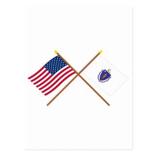 Los E.E.U.U. y banderas cruzadas Massachusetts Tarjetas Postales