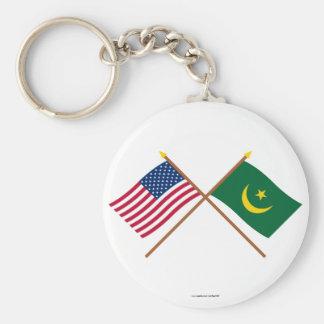Los E.E.U.U. y banderas cruzadas Mauritania Llavero Personalizado