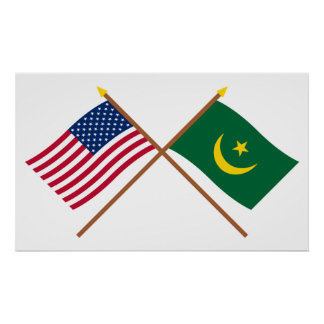 Los E.E.U.U. y banderas cruzadas Mauritania Poster
