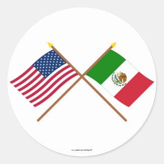 Los E E U U y banderas cruzadas México Etiqueta