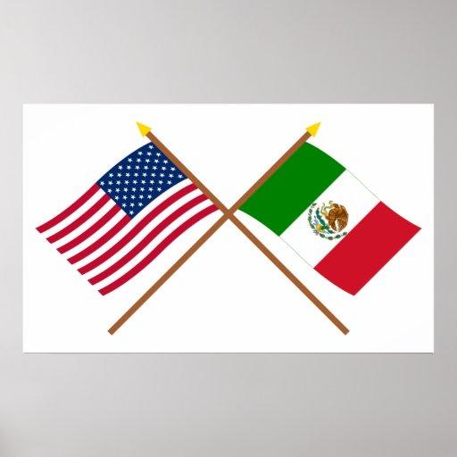 Los E.E.U.U. y banderas cruzadas México Póster
