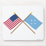 Los E.E.U.U. y banderas cruzadas Micronesia Alfombrillas De Ratones