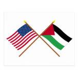 Los E.E.U.U. y banderas cruzadas movimiento Postal