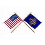 Los E.E.U.U. y banderas cruzadas Nebraska Tarjeta Postal