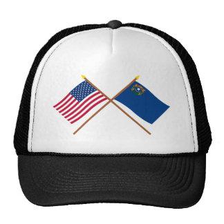 Los E.E.U.U. y banderas cruzadas Nevada Gorros Bordados
