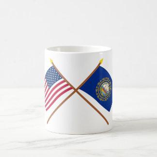 Los E.E.U.U. y banderas cruzadas New Hampshire Taza De Café