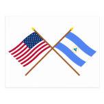 Los E.E.U.U. y banderas cruzadas Nicaragua Postal