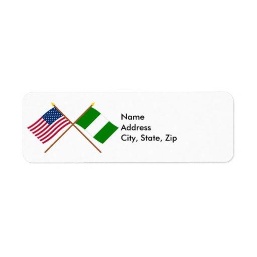 Los E.E.U.U. y banderas cruzadas Nigeria Etiquetas De Remite