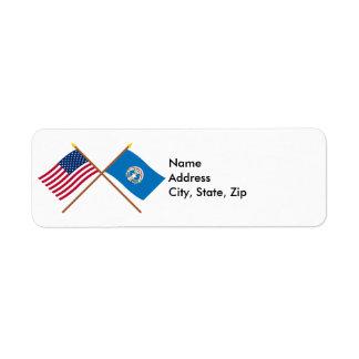 Los E.E.U.U. y banderas cruzadas Northern Mariana Etiquetas De Remite