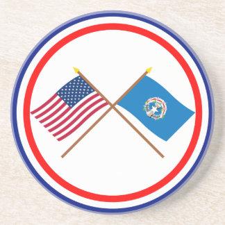 Los E.E.U.U. y banderas cruzadas Northern Mariana  Posavasos Cerveza