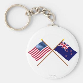 Los E.E.U.U. y banderas cruzadas Nueva Zelanda Llavero Redondo Tipo Pin