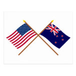 Los E.E.U.U. y banderas cruzadas Nueva Zelanda Postal