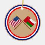 Los E.E.U.U. y banderas cruzadas Omán Ornamentos De Reyes