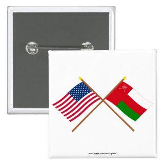 Los E.E.U.U. y banderas cruzadas Omán Pins