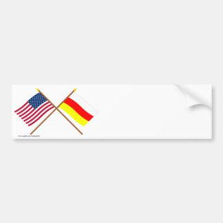 Los E.E.U.U. y banderas cruzadas Osetia del Sur Pegatina Para Auto