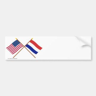 Los E.E.U.U. y banderas cruzadas Países Bajos Etiqueta De Parachoque