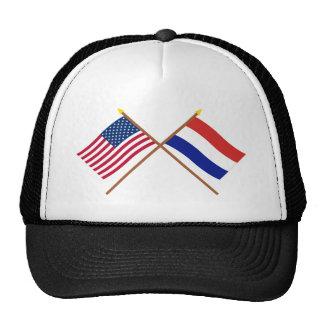 Los E.E.U.U. y banderas cruzadas Países Bajos Gorros