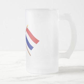 Los E.E.U.U. y banderas cruzadas Países Bajos Taza De Cristal