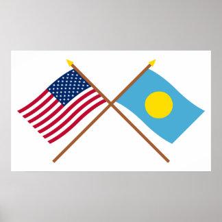 Los E.E.U.U. y banderas cruzadas Palau Impresiones