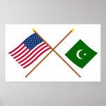 Los E.E.U.U. y banderas cruzadas Paquistán Poster