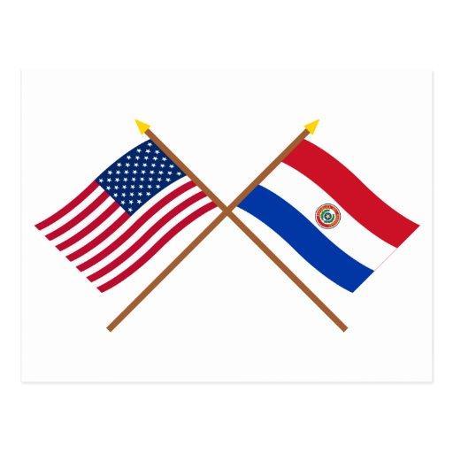 Los E.E.U.U. y banderas cruzadas Paraguay Postales