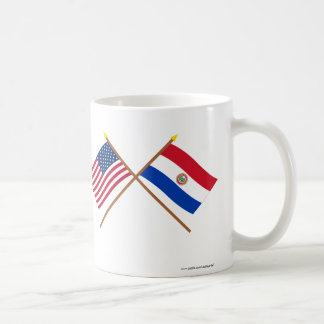 Los E.E.U.U. y banderas cruzadas Paraguay Taza