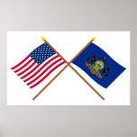Los E.E.U.U. y banderas cruzadas Pennsylvania Impresiones