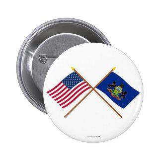 Los E.E.U.U. y banderas cruzadas Pennsylvania Pin Redondo 5 Cm
