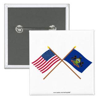 Los E.E.U.U. y banderas cruzadas Pennsylvania Pin Cuadrada 5 Cm