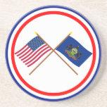Los E.E.U.U. y banderas cruzadas Pennsylvania Posavasos Manualidades