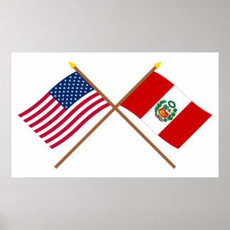Los E.E.U.U. y banderas cruzadas Perú Poster