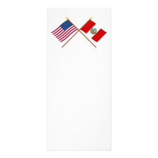 Los E.E.U.U. y banderas cruzadas Perú Tarjetas Publicitarias A Todo Color