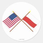 Los E.E.U.U. y banderas cruzadas Polonia Etiquetas Redondas