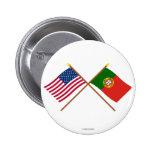 Los E.E.U.U. y banderas cruzadas Portugal Pin Redondo 5 Cm