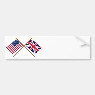 Los E.E.U.U. y banderas cruzadas Reino Unido Pegatina De Parachoque