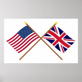 Los E.E.U.U. y banderas cruzadas Reino Unido Impresiones