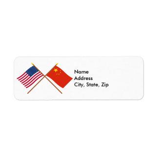 Los E.E.U.U. y banderas cruzadas República Popular Etiqueta De Remite