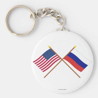 Los E.E.U.U. y banderas cruzadas Rusia Llavero Redondo Tipo Pin