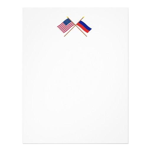 Los E.E.U.U. y banderas cruzadas Rusia Membrete A Diseño