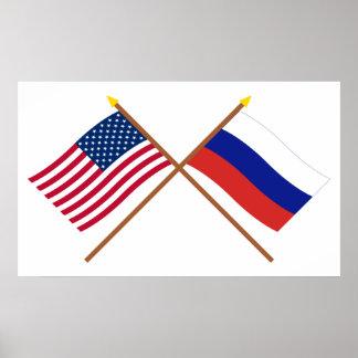Los E.E.U.U. y banderas cruzadas Rusia Posters