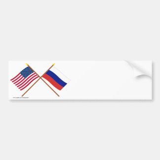 Los E.E.U.U. y banderas cruzadas Rusia Pegatina Para Auto